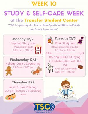 Take care of yourself this finals season and stop by the TSC for studying and stress reduction.