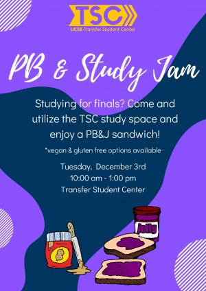 Studying for finals? Come and utilize the TSC study space and enjoy a PB&J sandwich!