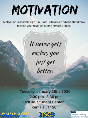Motivation is academic jet fuel. Join us to obtain advice about how to keep your head up during stressful times.