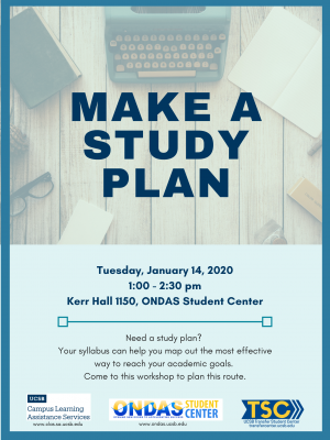 Need a study plan?  Your syllabus can help you map out the most effective way to reach your academic goals.  Come to this workshop to plan this route.