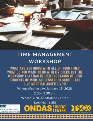 What are you doing with all of your time? What do you want to do with it? Check out the workshop that has helped thousands of ucsb students be more successful in school and live more balanced lives!