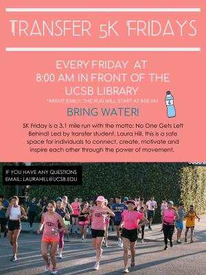 5K Friday is a 3.1 mile run with the motto: No One Gets Left Behind! Led by transfer student, Laura Hill, this is a safe space for individuals to connect, create, motivate and inspire each other through the power of movement