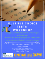 Struggling with knowing which options to pick and eliminate? Come to this workshop to gain test-taking skills and how to work efficiently on your next exam!