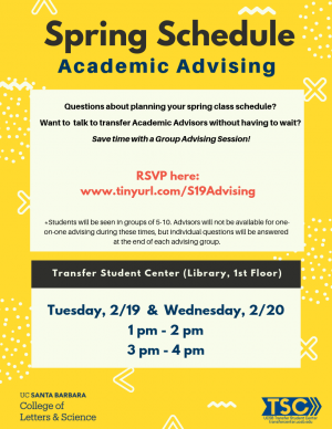 Questions about planning your spring class schedule?   Want to  talk to transfer Academic Advisors without having to wait?   Save time with a Group Advising Session!