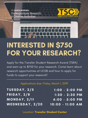 Apply for the Transfer Student Research Award (TSRA) and earn up to $750 for your research. Come learn about research opportunities at UCSB and how to apply for funds to support your research!